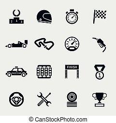 raça carro, jogo, ícones