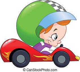 raça carro, motorista, criança