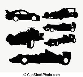 raça carro, silueta, transporte