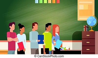 raça, grupo, estudante, quadro-negro, sobre, mistura, livros...