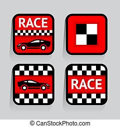 raça, -, jogo, adesivos, quadrado, ligado, a, experiência cinza