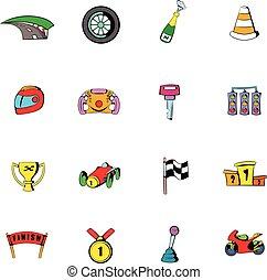 raça, jogo, caricatura, ícones