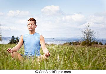 raça misturada, homem, prática, ioga