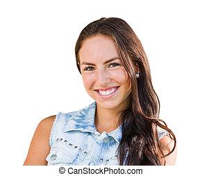 raça misturada, menina jovem, retrato, isolado, branco, fundo
