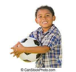 raça misturada, menino, bola futebol segurando, branco