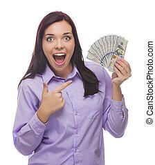 raça misturada, mulher segura, a, novo, cem dólar, contas