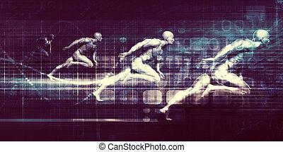 raça, tecnologia, braços