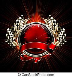 raças, 10eps, emblema, vermelho