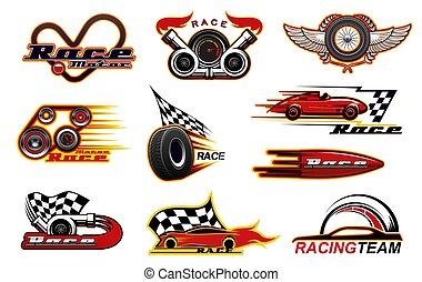 raças, correndo, esporte motor, ícones