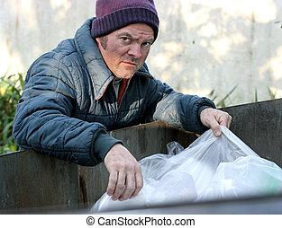 raíces, -, dumpster, sin hogar, hombre