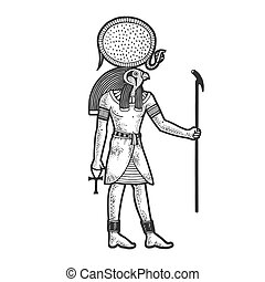 Ra Ancient Egyptian deity god of sun sketch engraving vector illustration. T-shirt apparel print design. Scratch board imitation. Black and white hand drawn image.