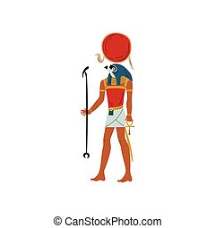 Ra, God of Sun, Symbol of Ancient Egyptian Culture Vector Illustration