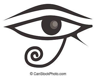 ra., horus., olho, egípcio