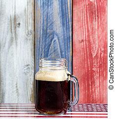 raad, usa, houten, nationale, bier, geverfde, kleuren, langzaam verdwenen, enkel