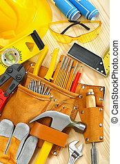 raad, werkende , houten, groot, gereedschap, samenstelling