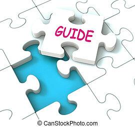 raadgevend, leiding, raadsel, guideline, het geleiden, gids, optredens