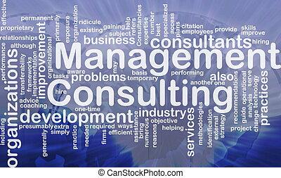 raadgevend, management, woord, wolk