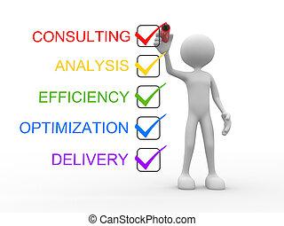 raadgevend, optimization, analyse, aflevering, doelmatigheid