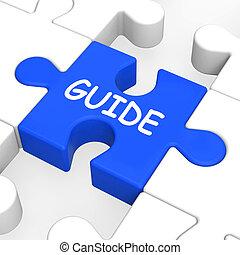 raadsel, gids, het geleiden, guideline, leiding, optredens