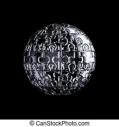 raadsel, glas, jigsaw, sferisch