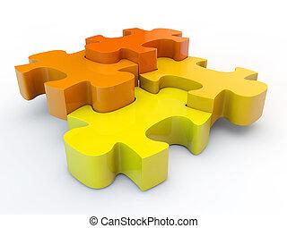 raadsel, jigsaw, colorfull