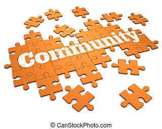 raadsel, jigsaw, gemeenschap, 3d