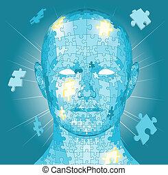 raadsel, jigsaw, hoofd, stukken
