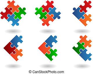 raadsel, jigsaw, iconen