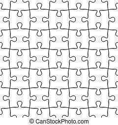 raadsel, jigsaw, pattern., seamless, vector, zwarte achtergrond, witte
