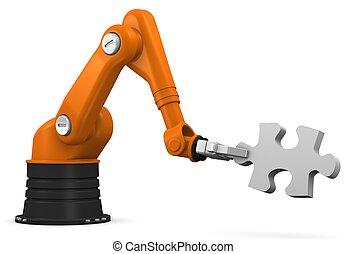 raadsel, jigsaw, robot, vasthouden, stuk