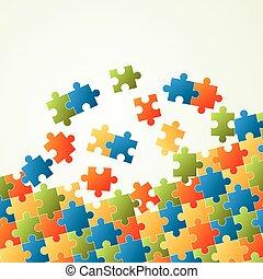 raadsel, kleurrijke, achtergrond, stukken