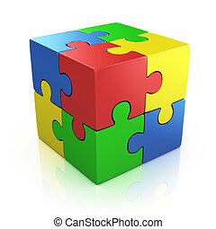 raadsel, kubiek, kleurrijke, 3d