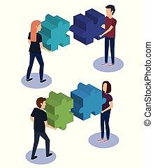 raadsel, mensen, teamwork, stukken