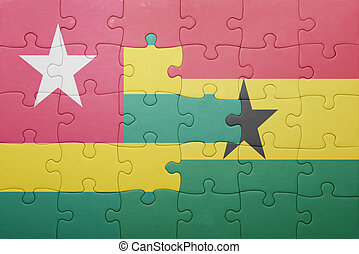 raadsel, met, de, nationale vlag, van, ghana, en, togo
