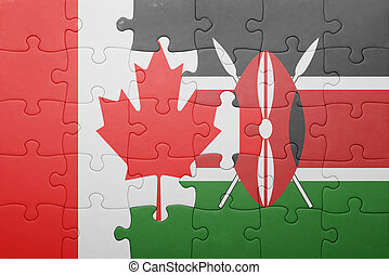 raadsel, met, de, nationale vlag, van, kenia, en, canada.