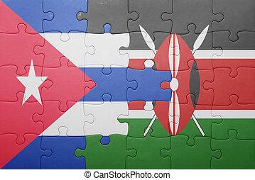 raadsel, met, de, nationale vlag, van, kenia, en, cuba.