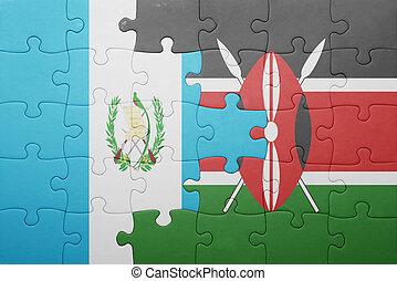 raadsel, met, de, nationale vlag, van, kenia, en, guatemala.