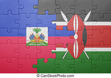 raadsel, met, de, nationale vlag, van, kenia, en, haiti.