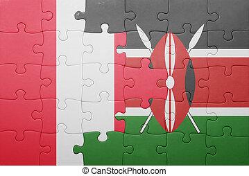 raadsel, met, de, nationale vlag, van, kenia, en, peru.