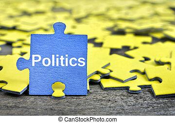 raadsel, met, woord, politiek