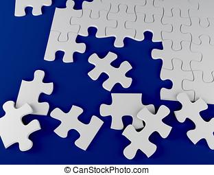 raadsel, op, blauwe achtergrond, 3d, illustratie, strategie, probleem