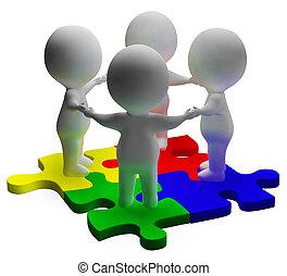 raadsel, opgeloste, eenheid, teamwork, karakters, optredens, 3d