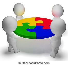 raadsel, opgeloste, teamwork, karakters, team, het tonen, 3d