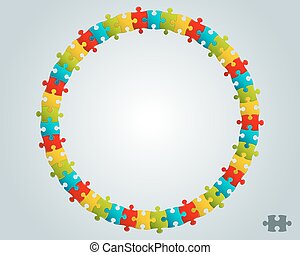 raadsel, ronde, kleurrijke, frame