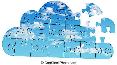 raadsel, technologie, oplossing, wolk, gegevensverwerking
