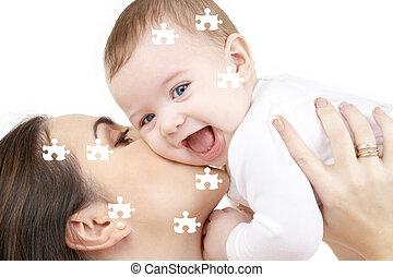 raadsel, van, lachen, baby, spelend, met, moeder