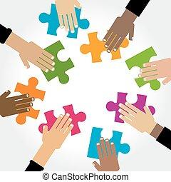 raadsel, verscheidenheid, handen