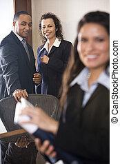 raadzaal, multi-etnisch, zakenlui