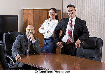 raadzaal, spaans, werkmannen , drie, kantoor
