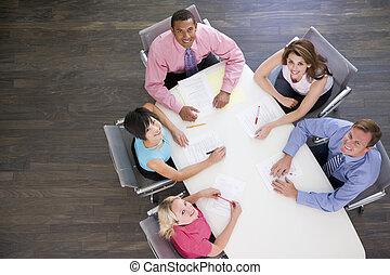 raadzaal, tafel, vijf, businesspeople